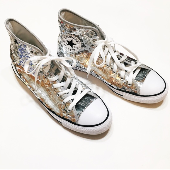 19fce0667915 Converse Shoes - Converse All Star Silver Sequin High Top Sneakers
